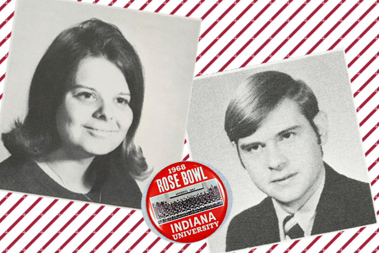 Image shows black and white headshots of BJ and Bob Kaufman from their college days at IU